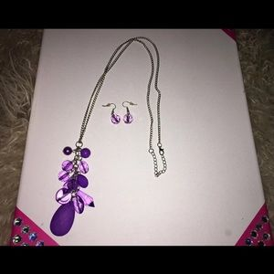 Purple Teardrop Necklace & Earrings
